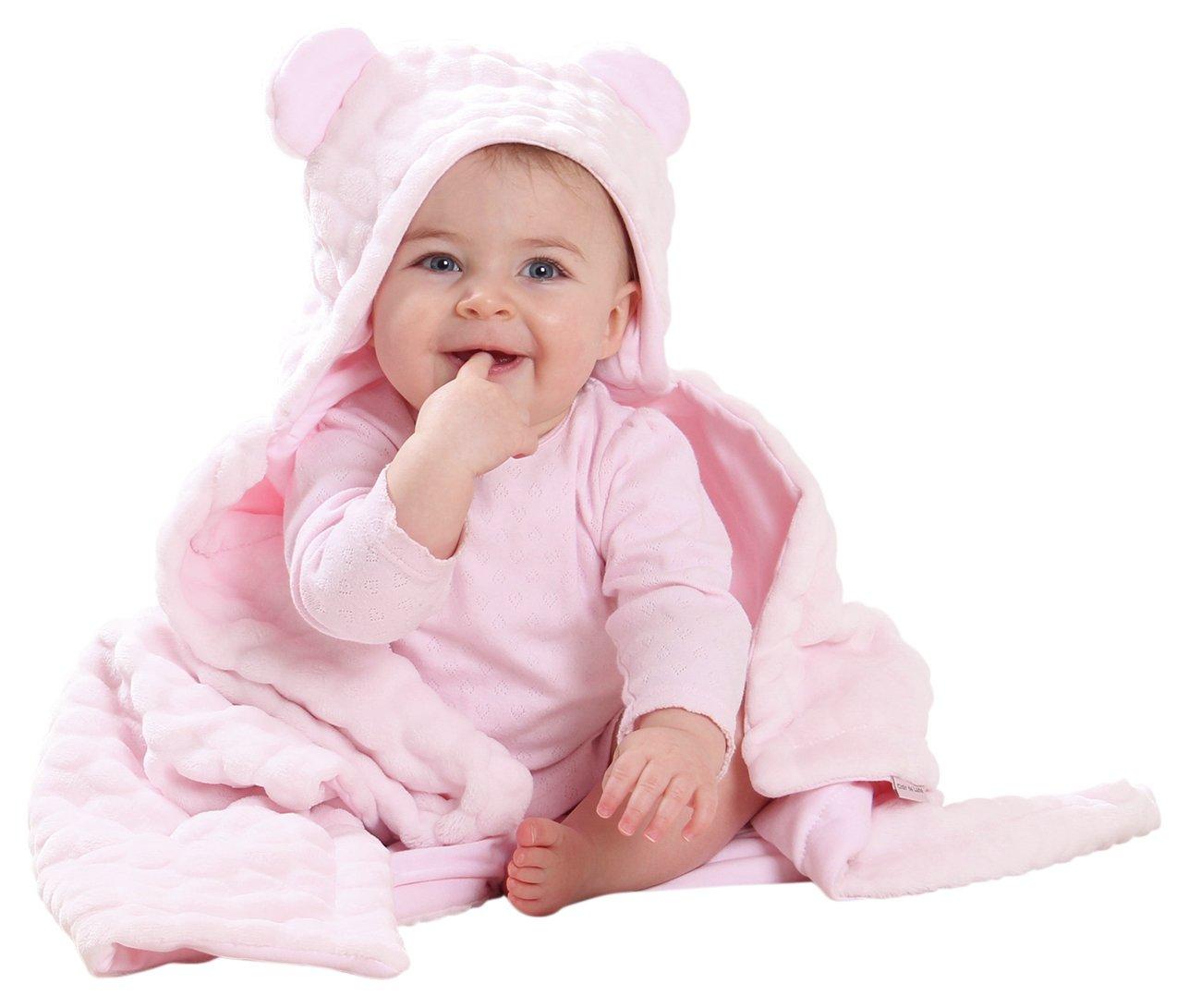 Image of Clair de Lune Marshmallow Teddybear Ear Blanket - Pink.