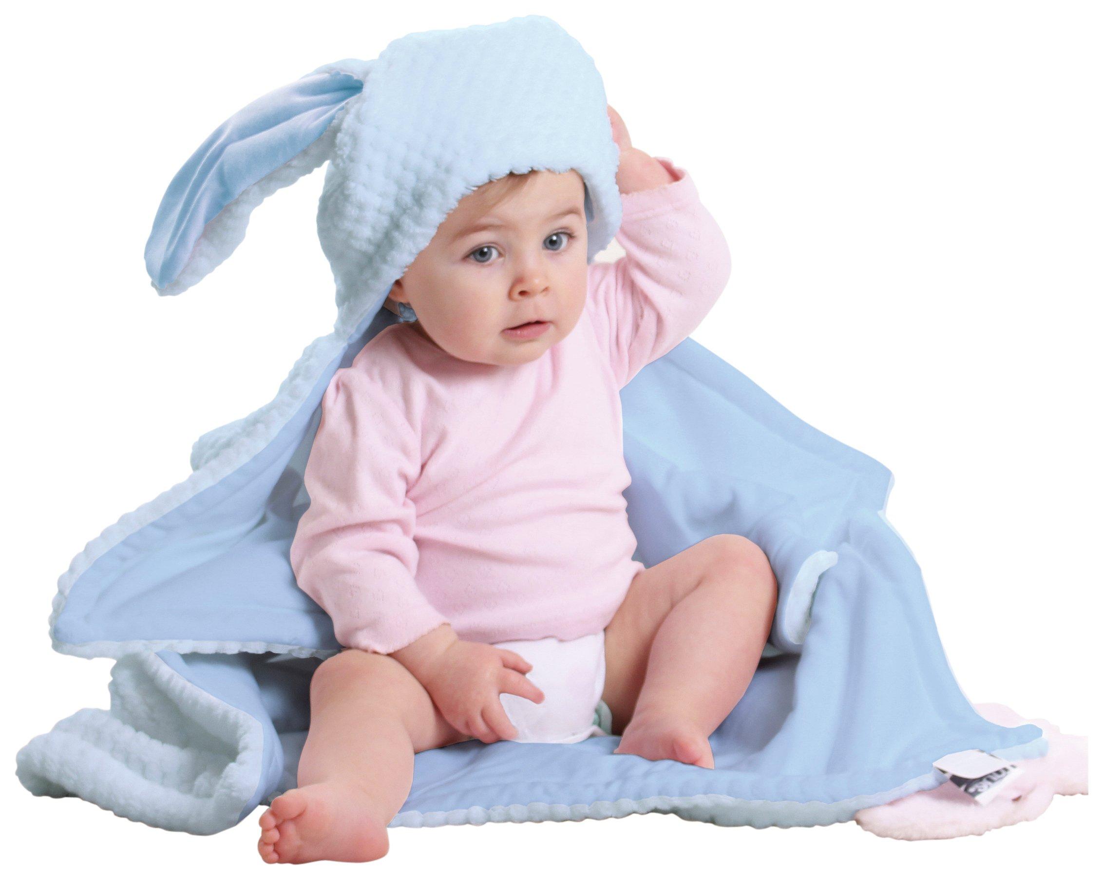 Image of Clair de Lune Honeycomb Hooded Ear Blanket - Blue.
