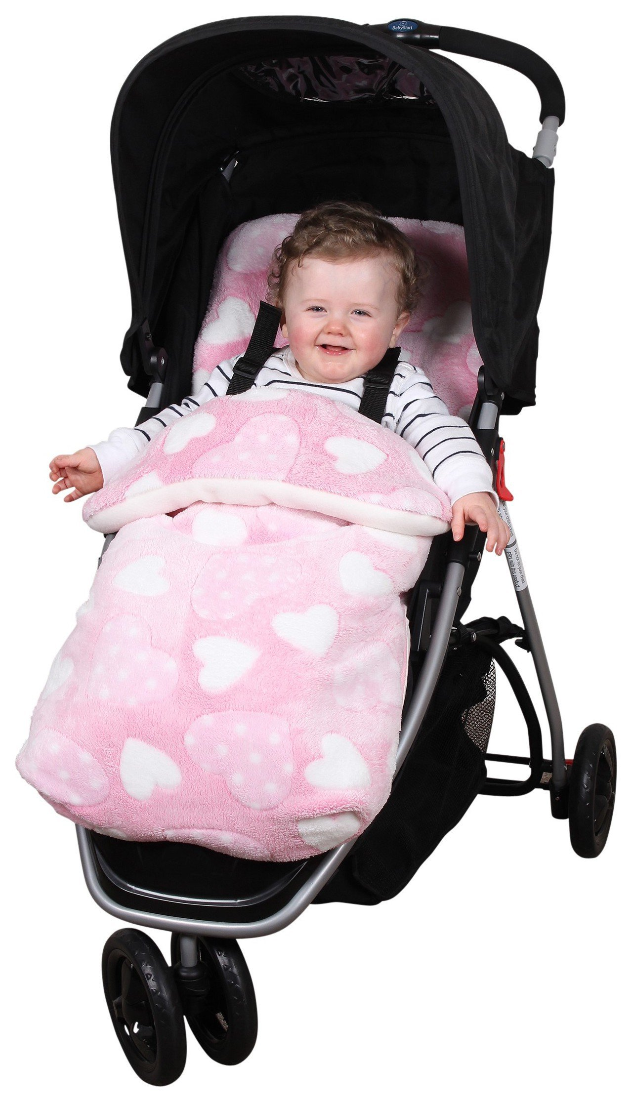 Image of Clair de Lune Heart Fleece Pushchair Footmuff.
