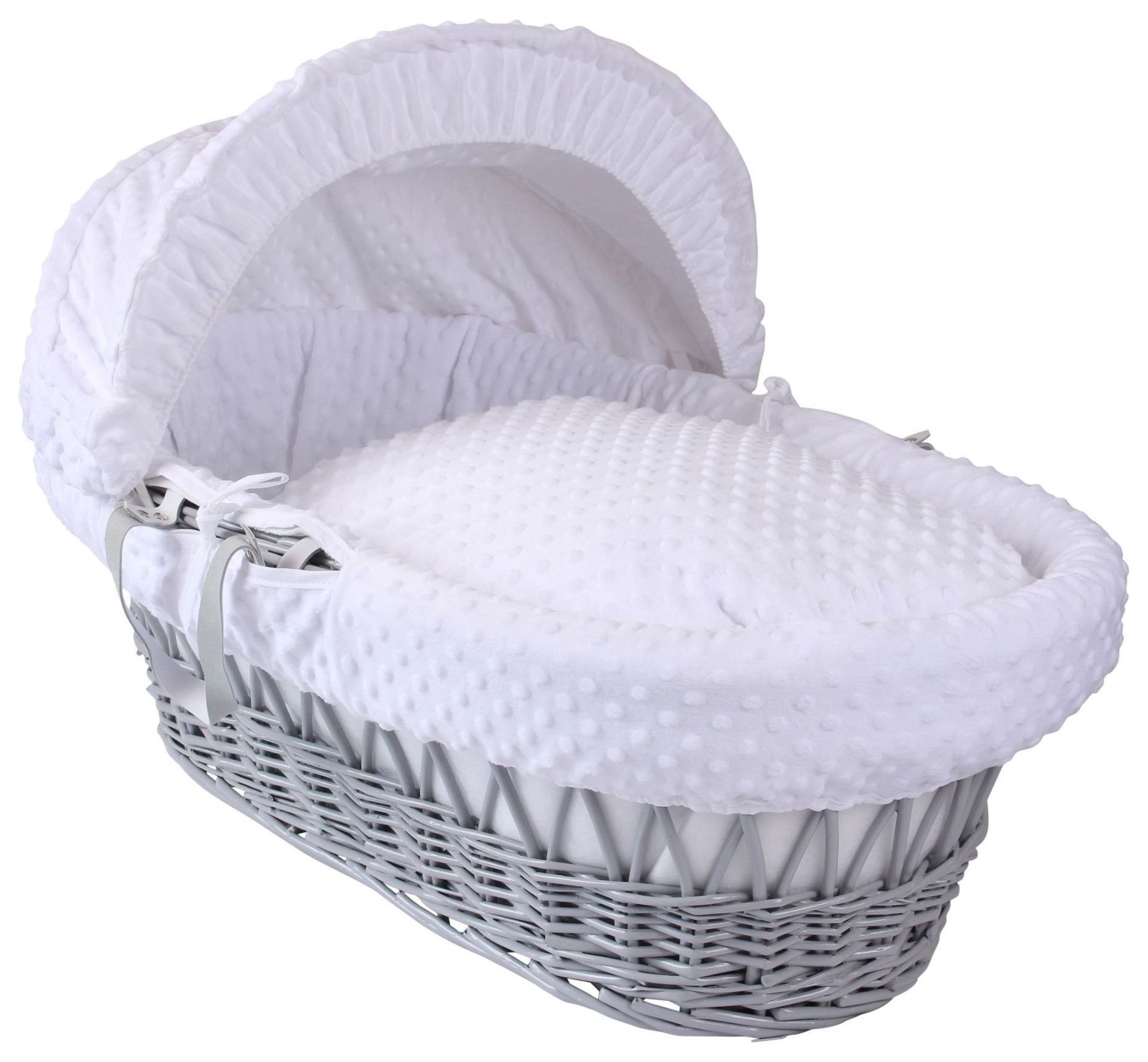 Clair de Lune Dimple Wicker Basket - White/Grey