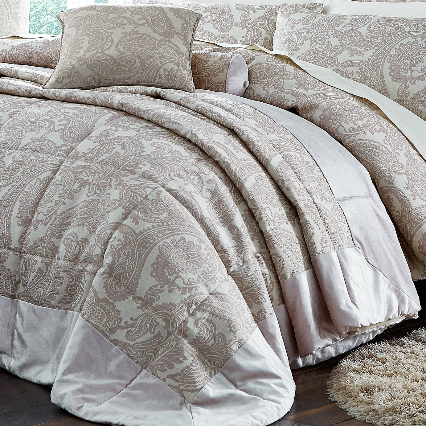 catherine lansfield opulent jacquard bedspread  champagne.