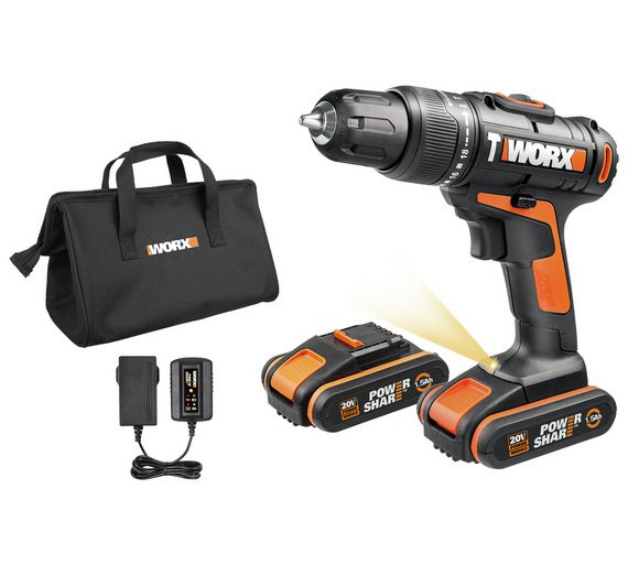 Worx cordless hammer drill with 2 20v batteries extra flex cable