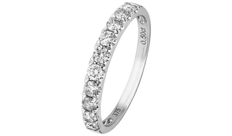Revere 9ct White Gold 0.50ct tw Diamond Eternity Ring - J