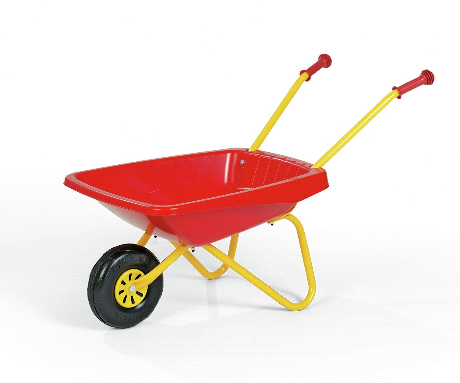 Kids Metal and Plastic Wheelbarrow - Red & Yellow
