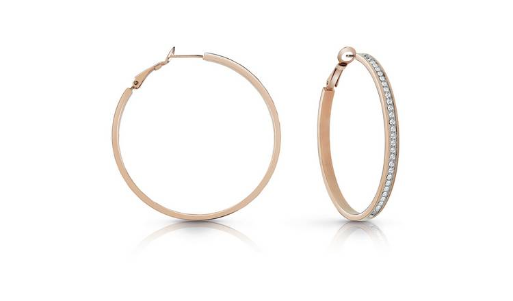 Guess Rose Colour Swarovski Pave Hoop Earrings