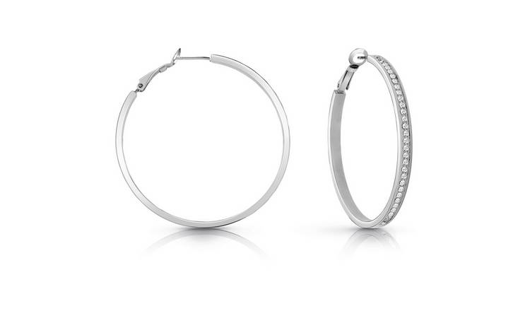 Guess Silver Colour Swarovski Pave Hoop Earrings
