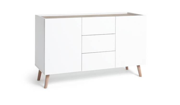 Habitat Skandi 2 Door 3 Drawer Sideboard - White Two Tone