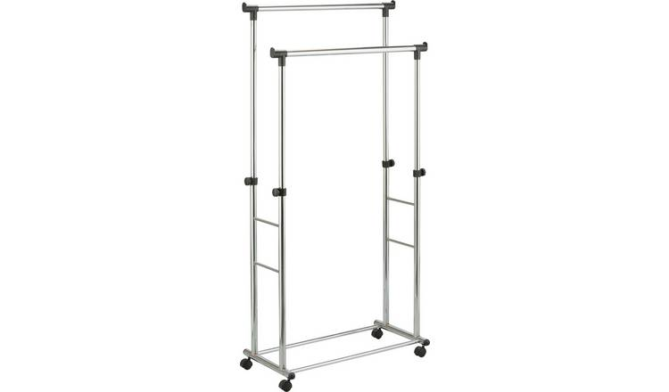 Argos Home Heavy Duty Double Clothes Rail - Black & Chrome