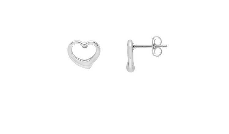 Amelia Grace Silver Colour Open Heart Stud Earrings