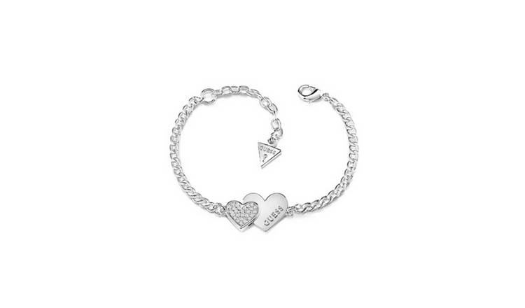 Guess Rhodium Plated Me N You Double Heart Bracelet