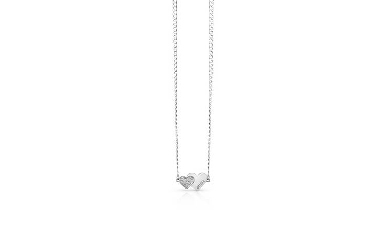 Guess Rhodium Plated Me N You Double Heart Pendant Necklace