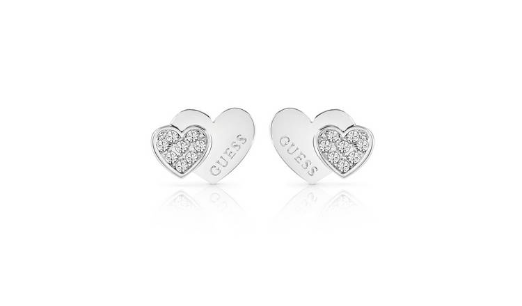 Guess Rhodium Plated Me N You Double Heart Stud Earrings