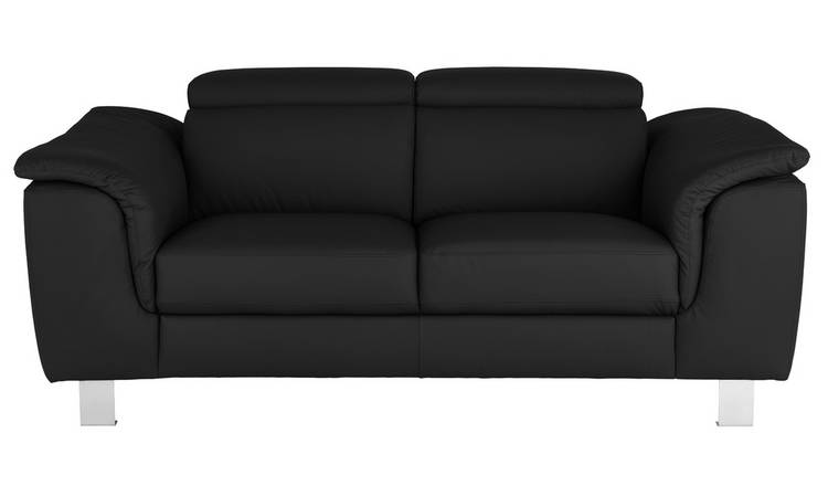 Argos Home Boutique 2 Seater Faux Leather Sofa - Black