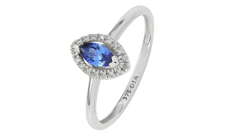 Revere 9ct White Gold Created Tanzanite and Diamond Ring -P