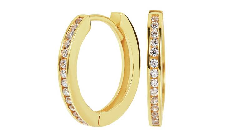 Revere 9ct Gold Plated Sterling Cubic Zirconia Hoop Earrings