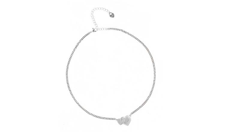 Lipsy Silver Colour Double Heart Necklace