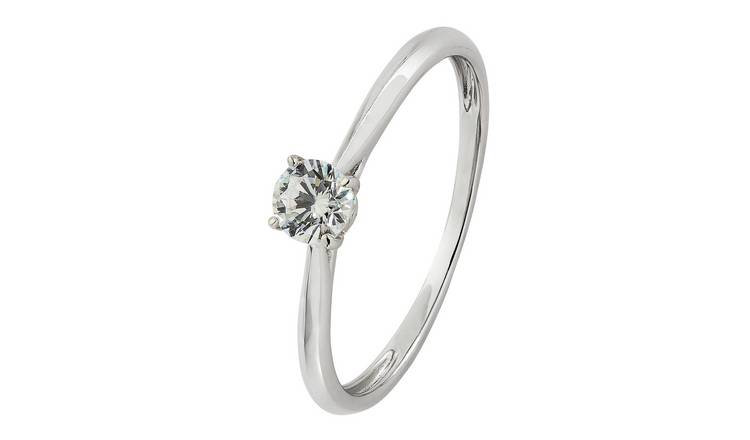 Revere 9ct White Gold Cubic Zirconia Solitaire Ring - P