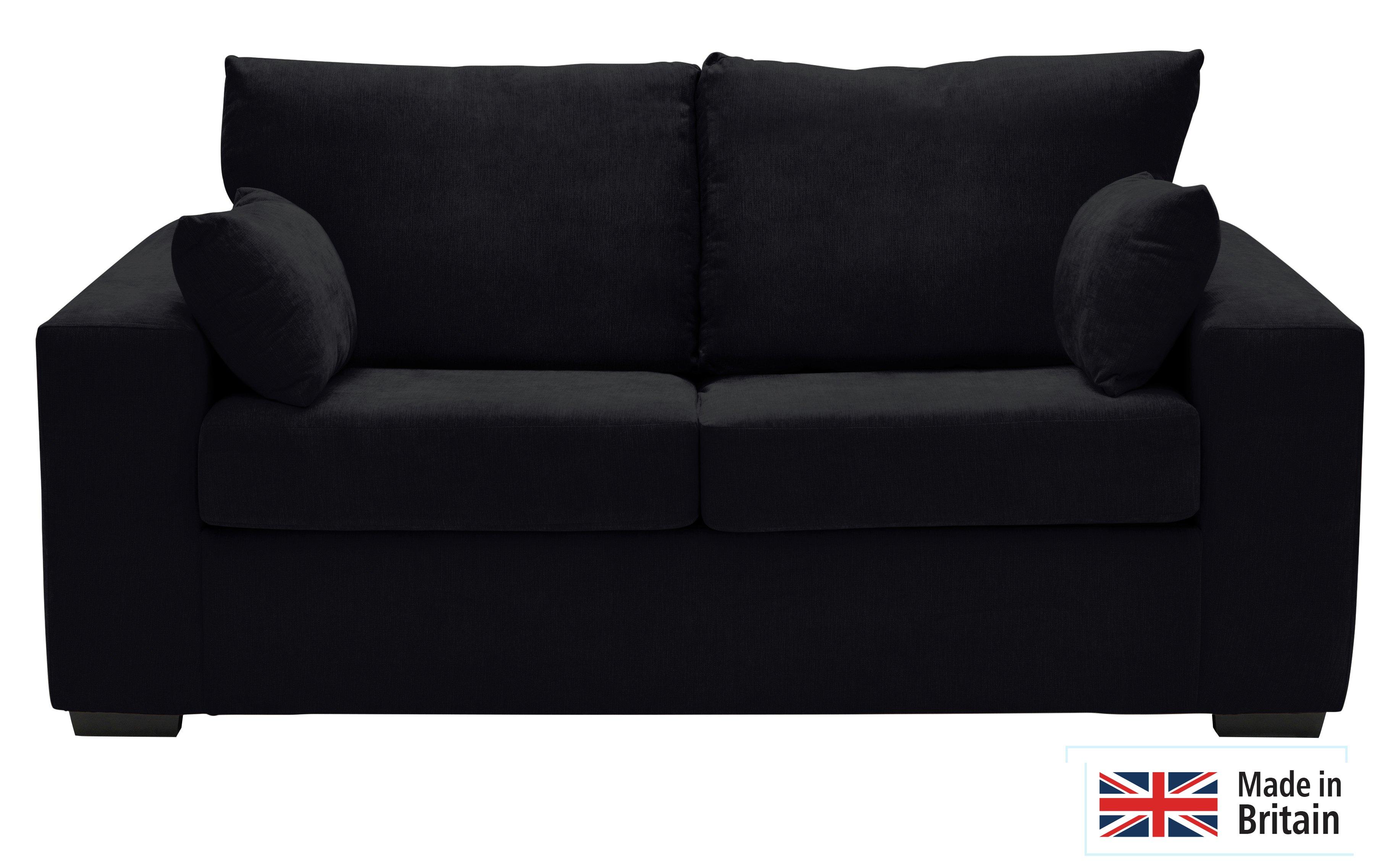 Argos Home Eton 2 Seater Fabric Sofa Bed - Black