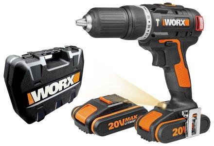 WORX Cordless Brushless Hammer Drill with 2 20V Batteries