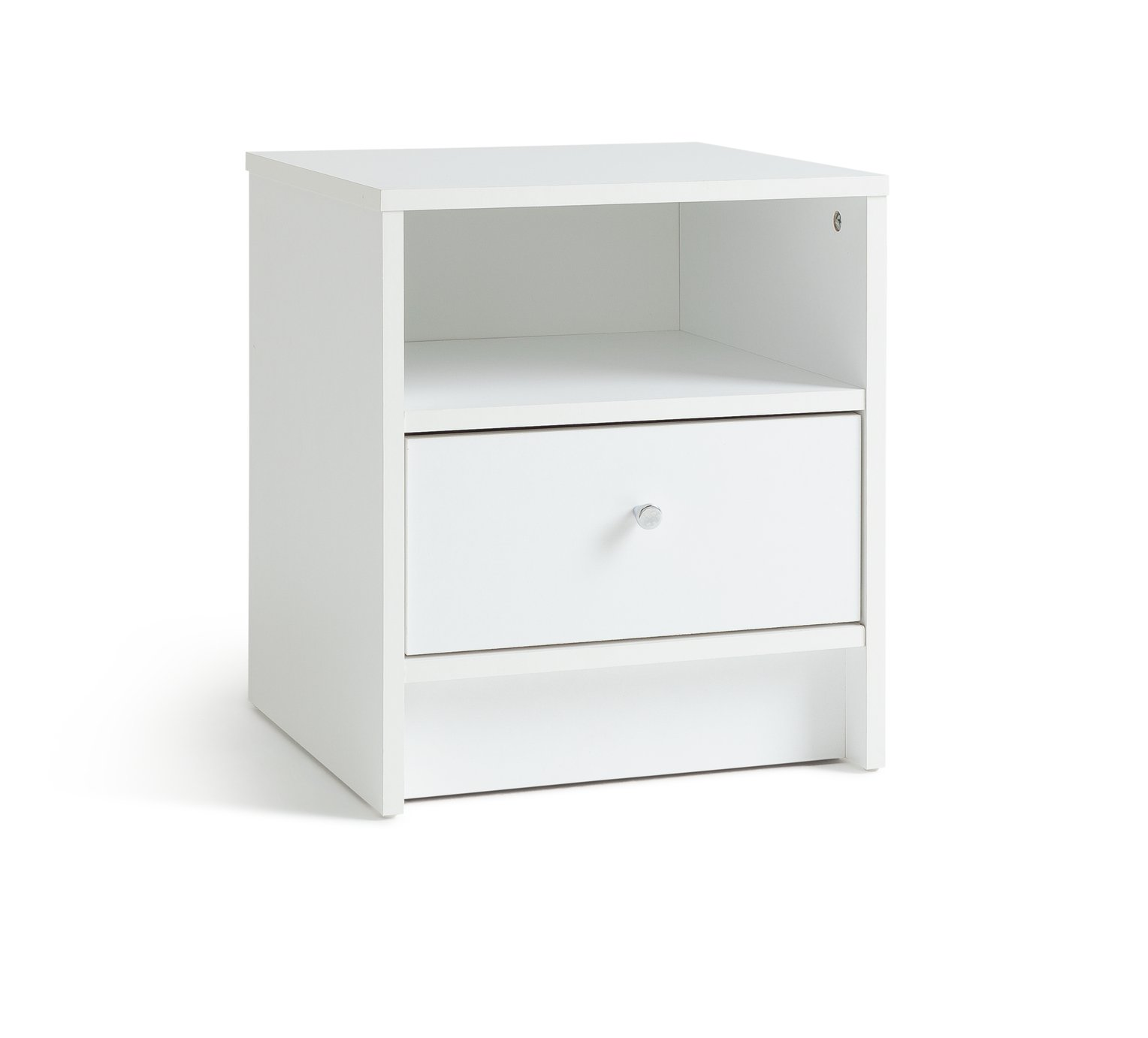 home  new malibu 1 drawer  bedside chest  white