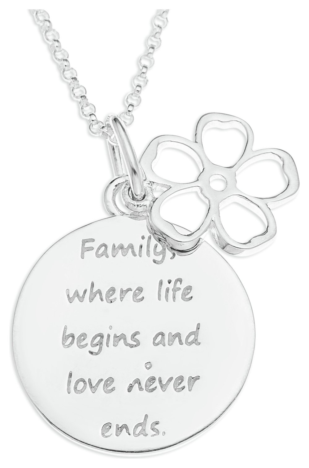 Image of From the Heart - Silver Family Message Pendant.