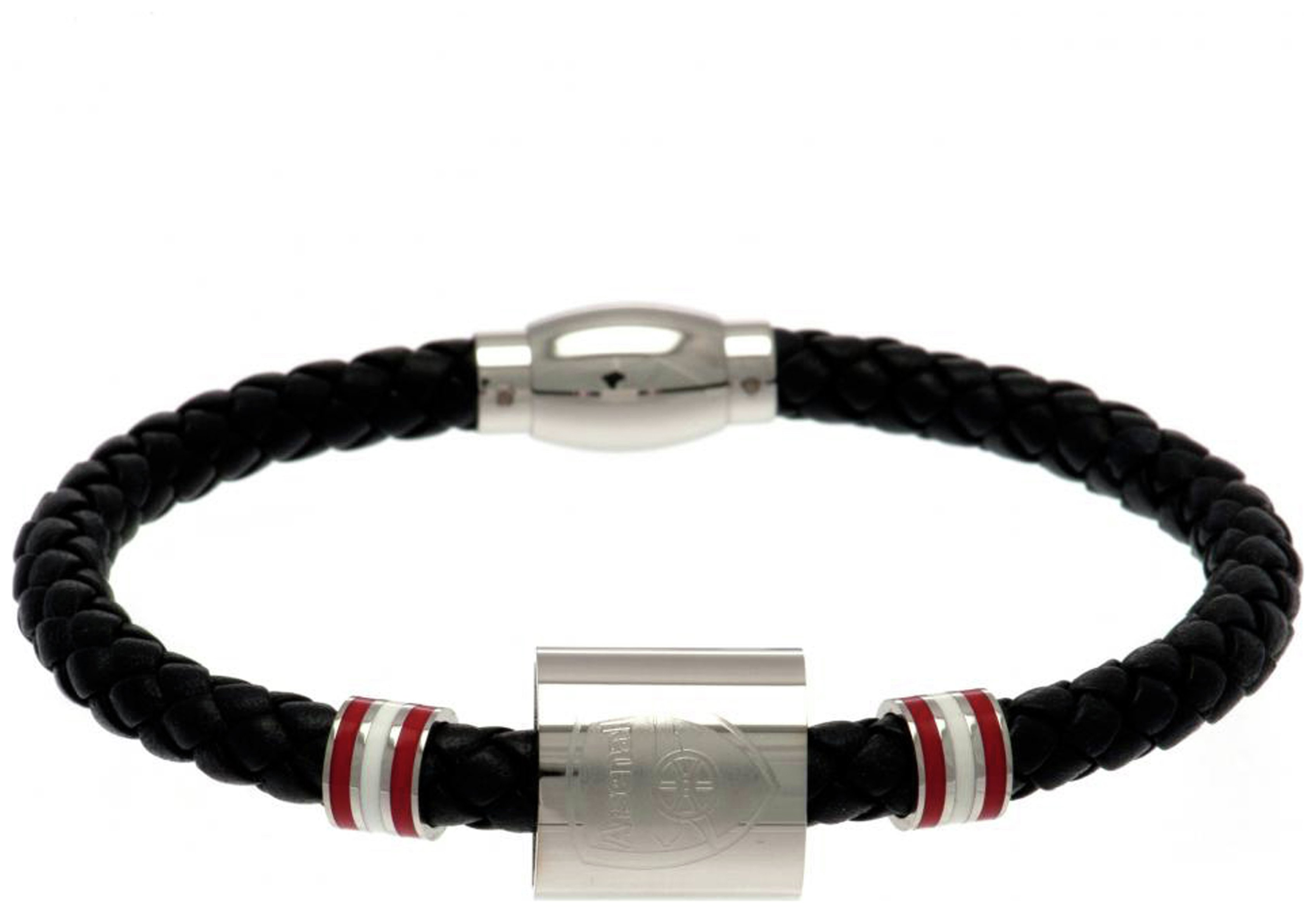 Image of Arsenal FC -Stainless Steel and Leather Stainless Steel and Leather - Bracelet