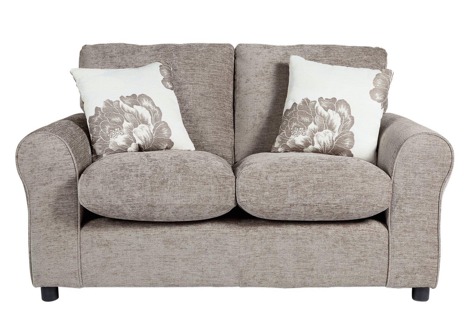 sale on home tessa compact 2 seater fabric sofa mink. Black Bedroom Furniture Sets. Home Design Ideas