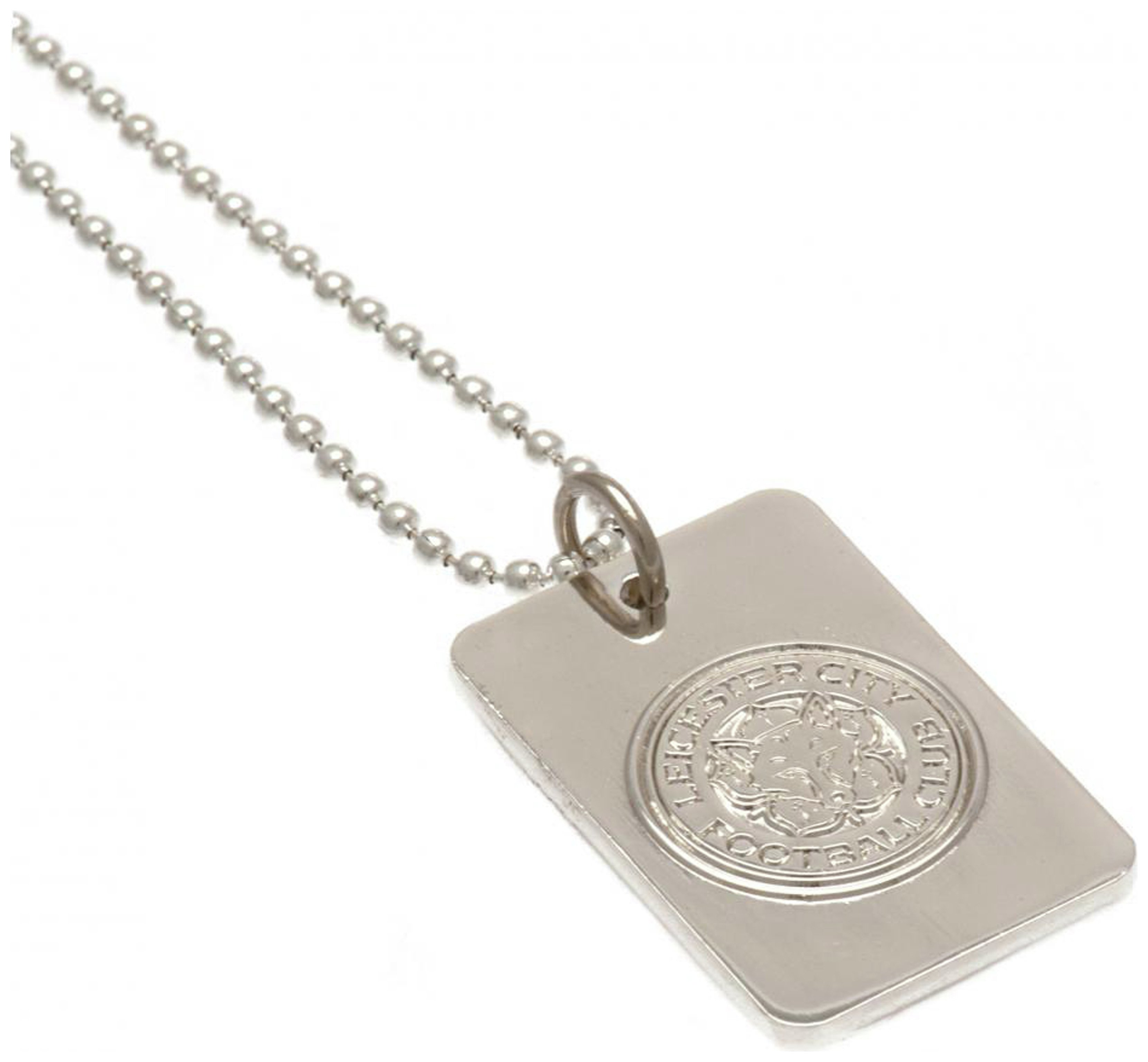 Silver Plated Leicester City Dog Tag & Ball Chain.