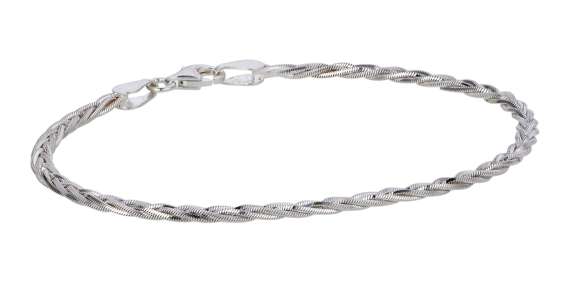 Revere Italian Silver Diamond Cut Snake Chain Bracelet