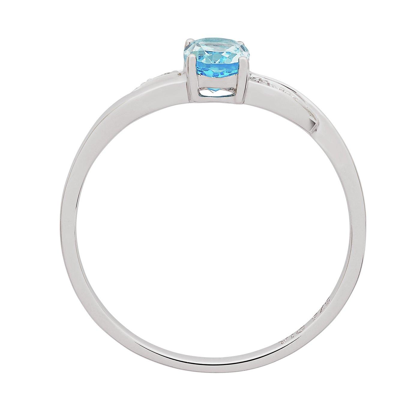 Revere 9ct White Gold Blue Topaz and Diamond Twist Ring - N