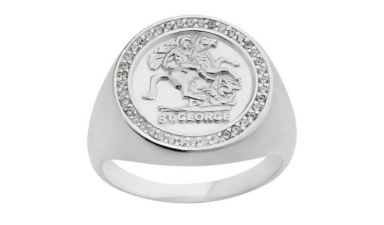 Sterling Silver Mens  St. George Medallion Ring - R