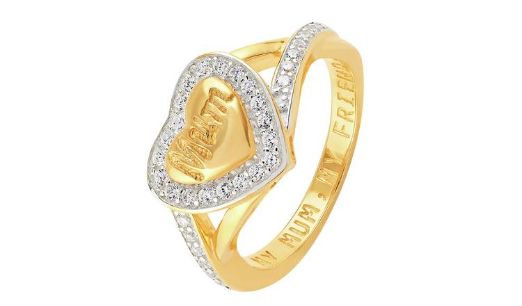 Moon & Back 9ct Gold Plated  'My Mum, My Friend' Ring -Q