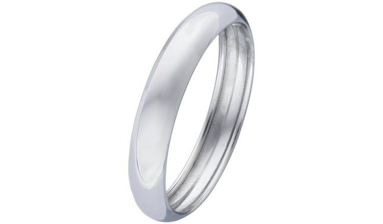 Revere 9ct White Gold Rolled Edge D-Shape Wedding Ring -T