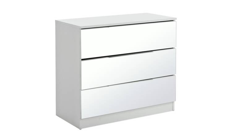 Argos Home Sandon 3 Drawer Chest - White and Mirrored