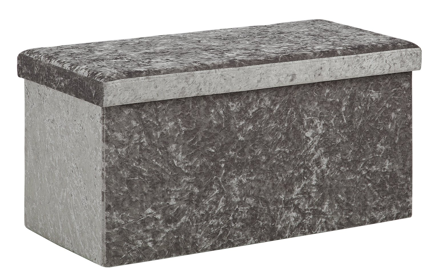 Buy Collection Ashridge Large Velvet Ottoman Silver Grey at