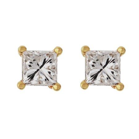 Revere 9ct Yellow Gold Princess Cut Diamond Stud Earrings