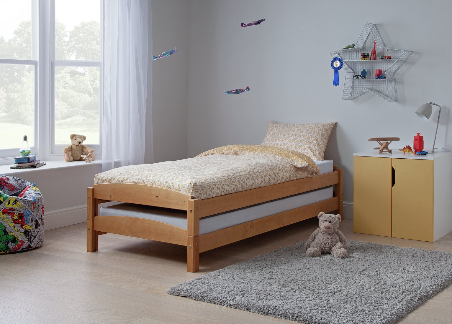 Argos Home Stakka II Guestbed and 2 Mattresses - Pine