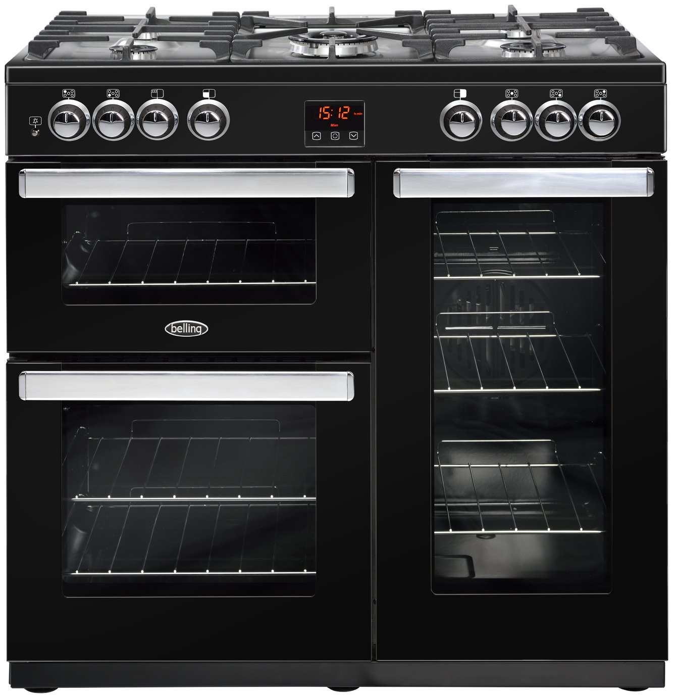 Belling Cookcentre 90G Gas Range Cooker - Black
