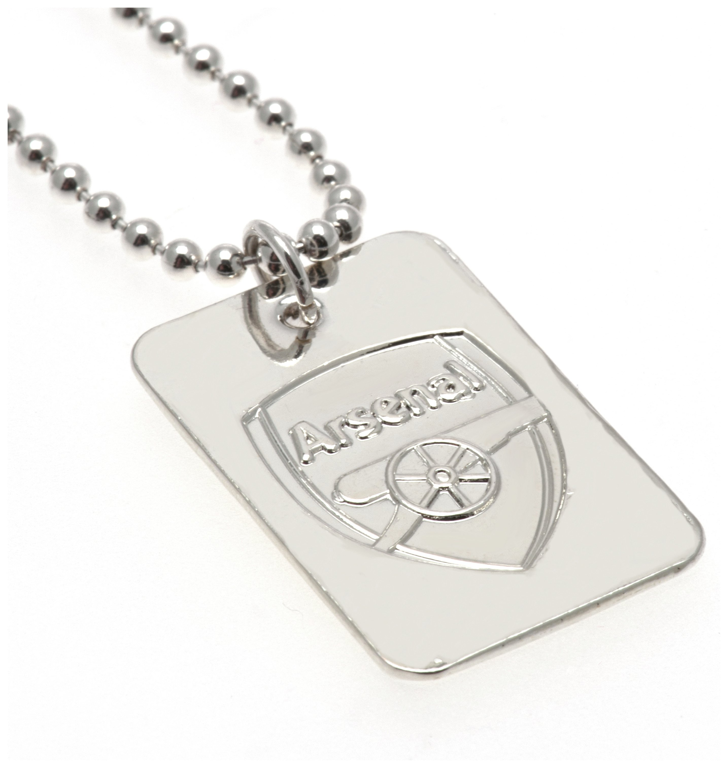 Image of Silver Plated Arsenal Dog Tag & Ball Chain.