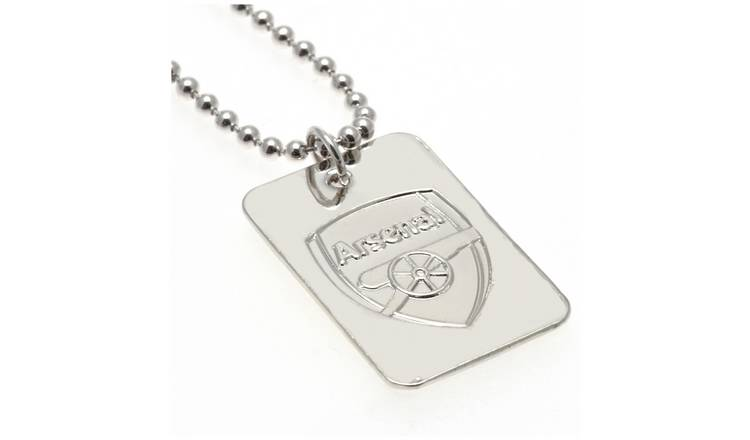 Silver Plated Arsenal Dog Tag & Ball Chain.