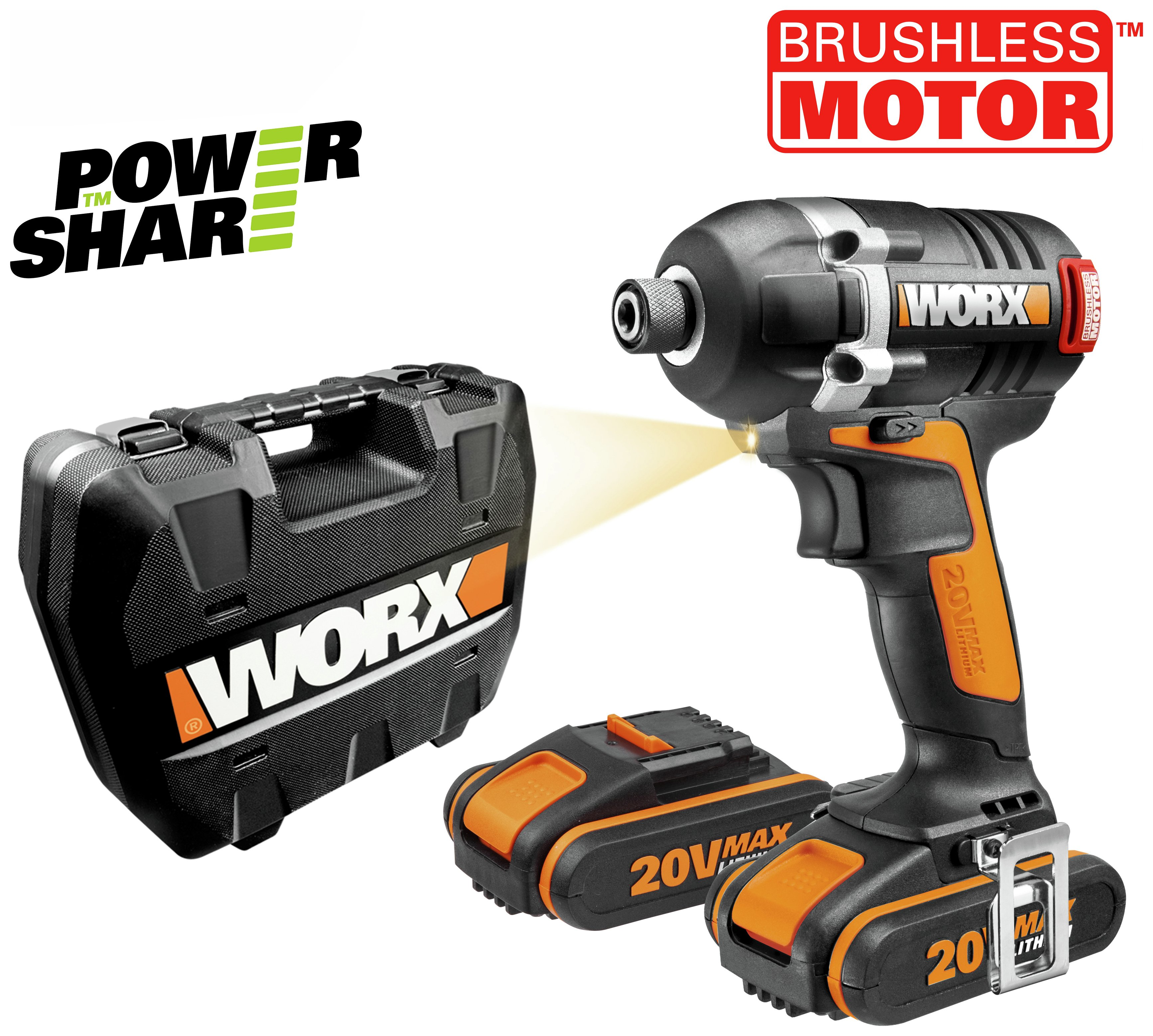 Worx - Brushless Impact Driver with 2 2AH Batteries - 20V lowest price