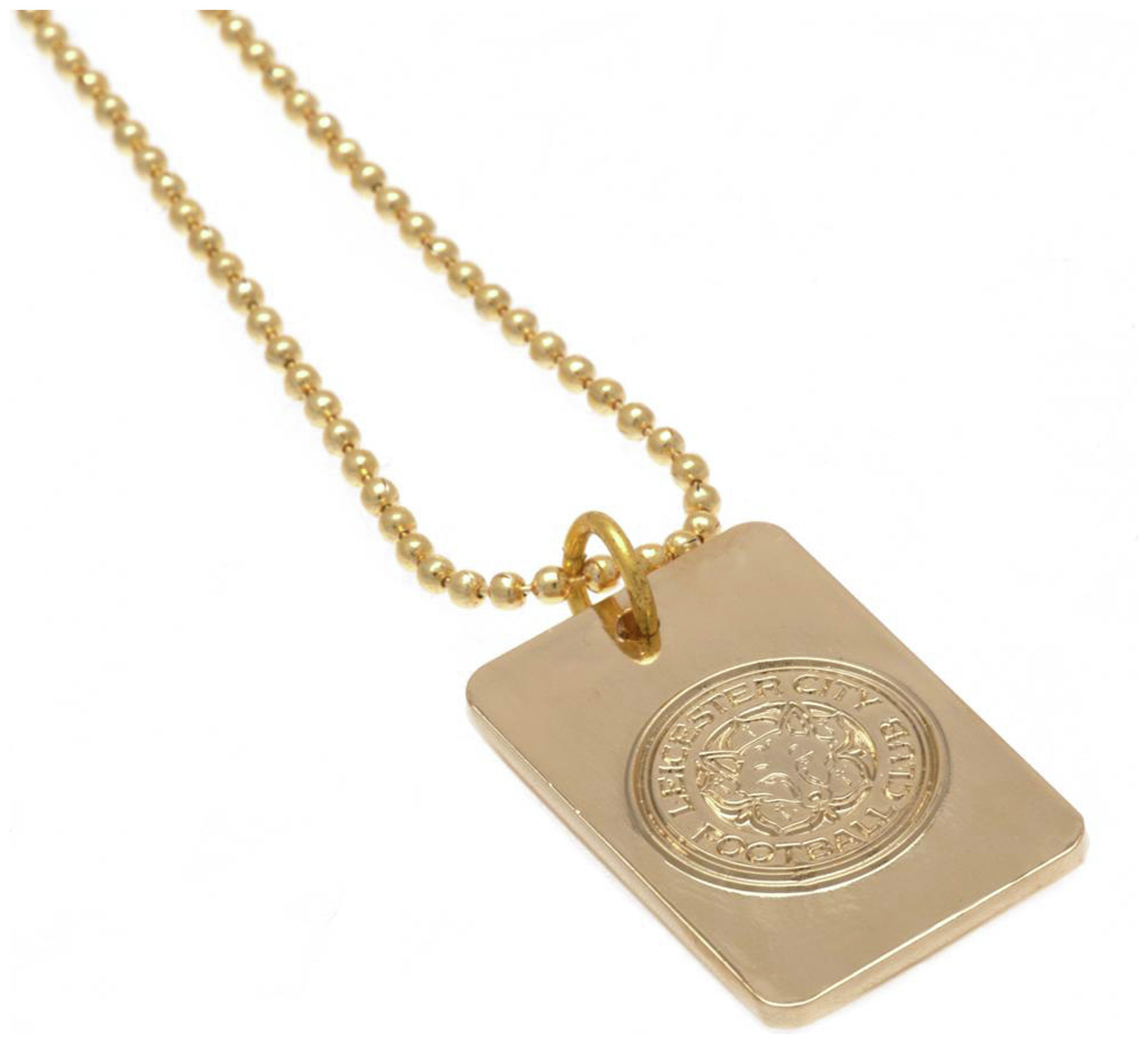Gold Plated Leicester City Dog Tag & Ball Chain