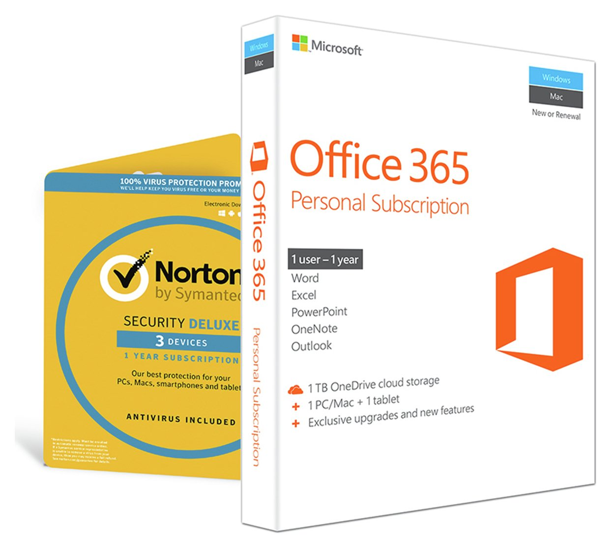 Microsoft Microsoft - Office 365 Personal and Norton - Internet Security