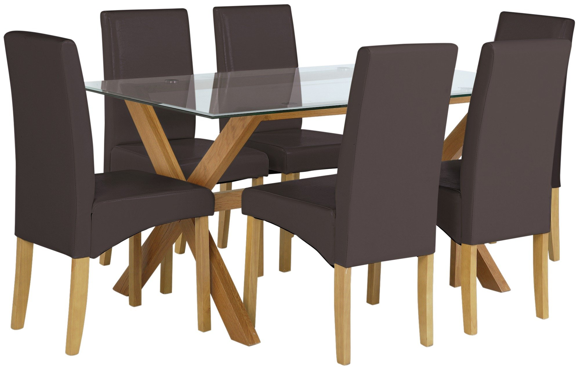Heart of House Oakington Rec Glass Table & 6 Chairs - Choc