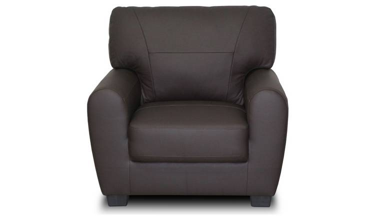 Argos Home Stefano Leather Mix Armchair - Chocolate