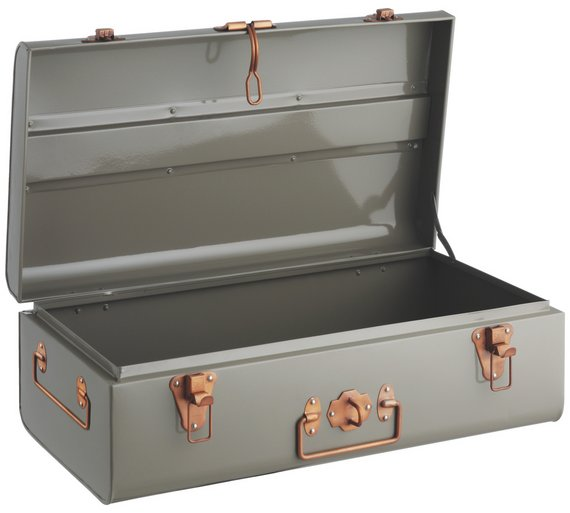 buy habitat small trunk with copper clasps grey at argos. Black Bedroom Furniture Sets. Home Design Ideas