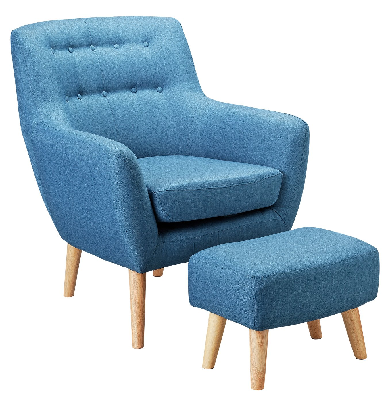 Argos Home Otis Fabric Accent Chair And Footstool Blue 5715644 Argos Price Tracker Pricehistory Co Uk