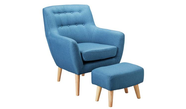 Buy Argos Home Otis Fabric Accent Chair And Footstool Blue