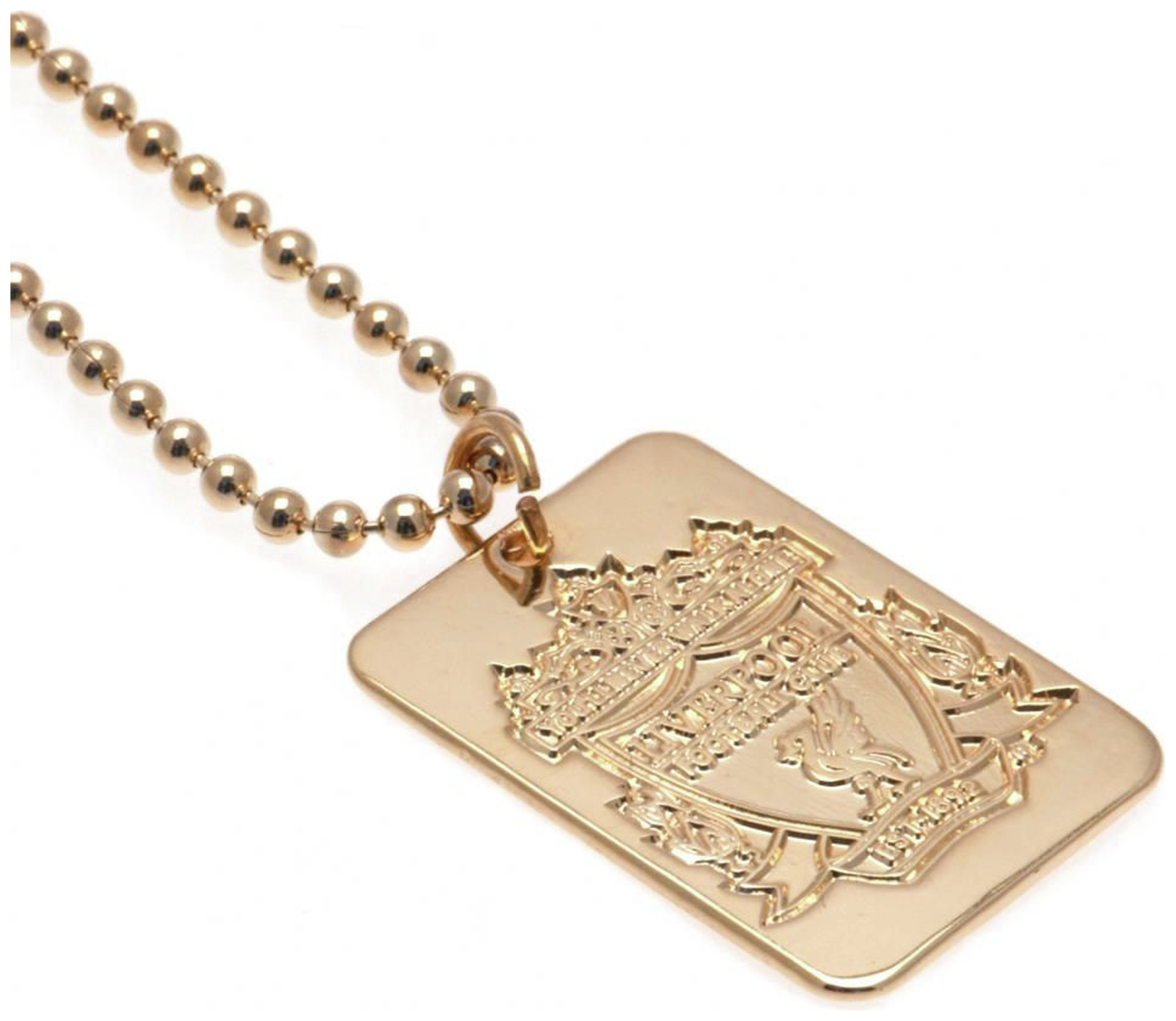 Gold Plated Liverpool Dog Tag & Ball Chain.