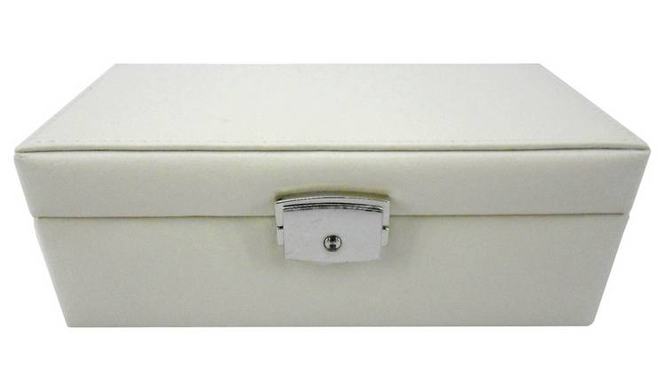 Cream Faux Leather Jewellery Box with Lock